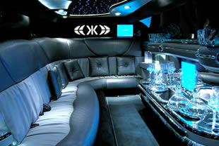 Interior view of 'J' shape seating inside limo