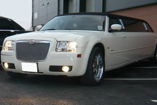 Exterior view of white 'Baby Bentley'